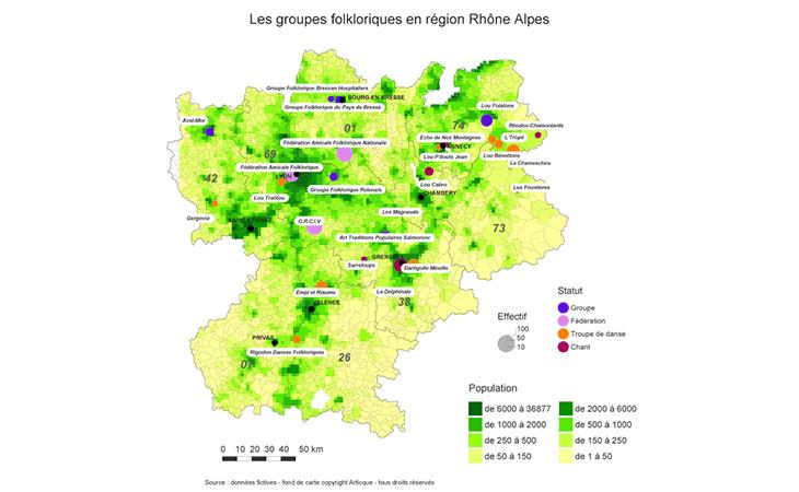 Répartition geographique des groupes folkloriques en Rhône Alpes