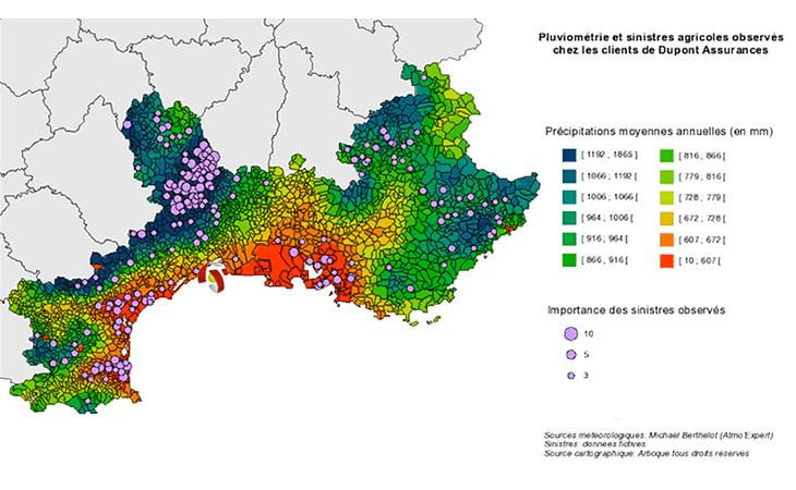 Cartographie de la pluviométrie et des sinistres agricoles en région PACA