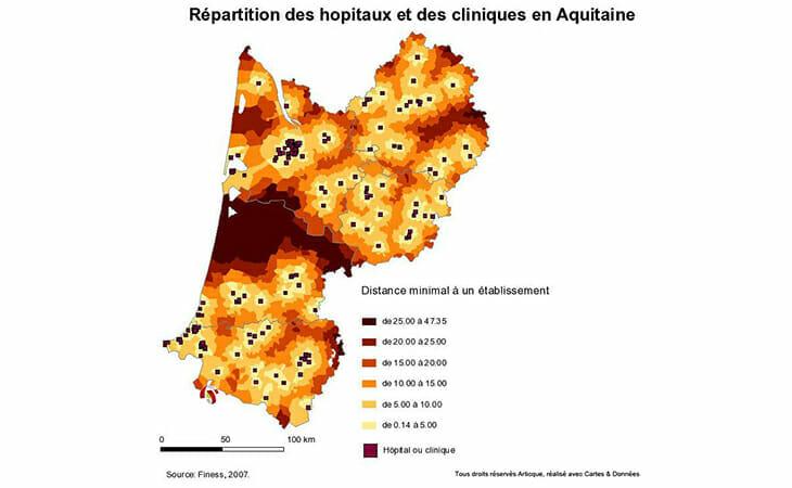 Geolocalisation des hopitaux et cliniques en Aquitaine