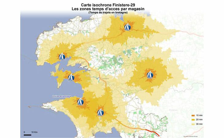 Carte isochrone du département du Finistère