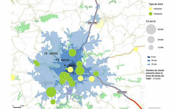 Exemple de geomarketing localisé dans le Finistère