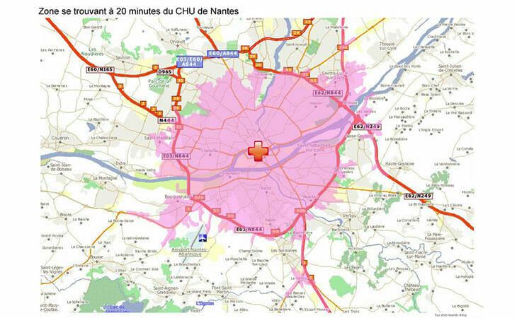 Carte isochrone ayant pour centre le CHU de Nantes