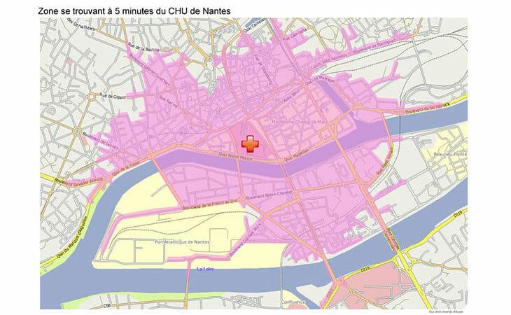 Carte isochrone du CHU de Nantes