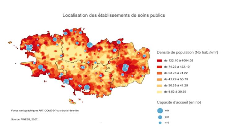 Cartographie statistique des établissements de soins publics
