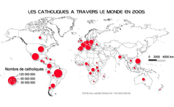 Cartographie statistique de la présence des catholiques dans le monde