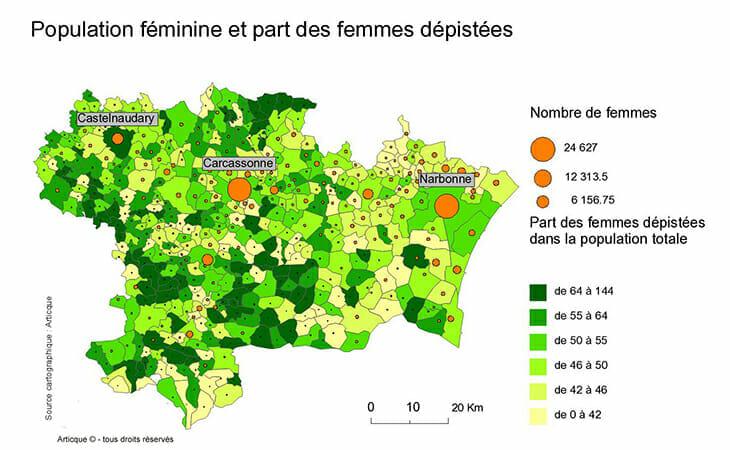 Cartographie statistique de femmes dépistées dans la population féminine