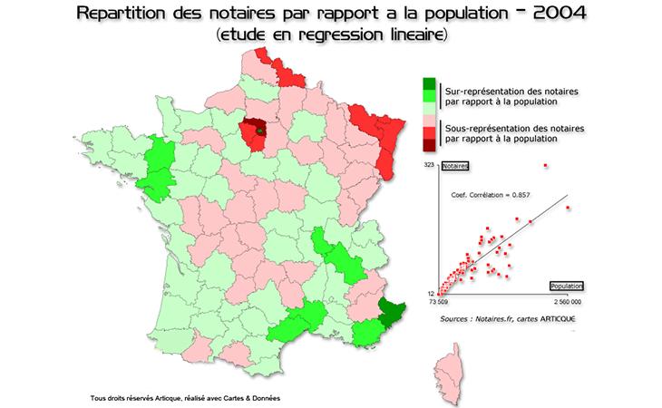 Cartographie de la présence des notaires sur le territoire francais