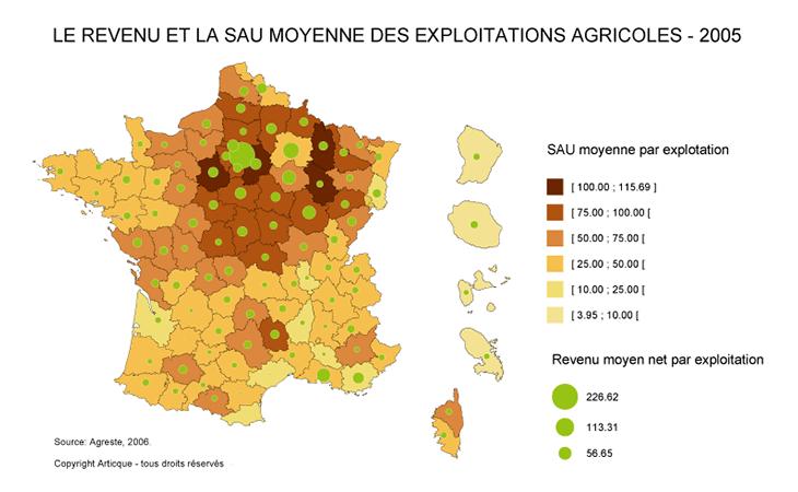 Carte comparative revenu et SAU des exploitations agricoles en France