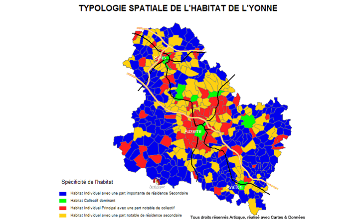 Cartographie de l'habitat par typologie dans l'Yonne