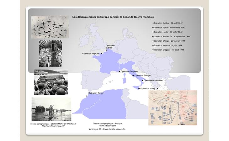 Carte du déroulement des débarquements en Europe (1942-1944)