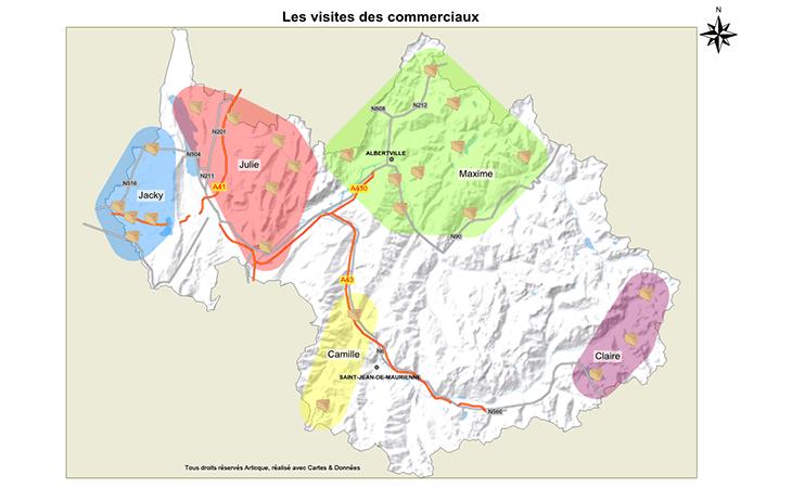 Exemple de cartographie d'une sectorisation commerciale