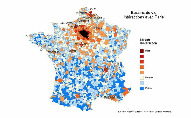 Cartographie nationale des interactions entre Paris et les bassins de vie