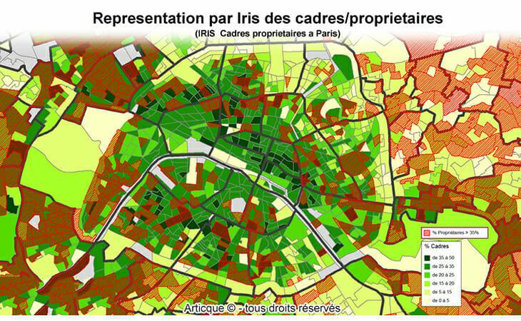 Geolocalisation des cadres-propriétaires à Paris avec Iris