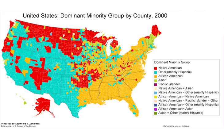 Cartographie des groupes ethniques dominants aux Etats-Unis