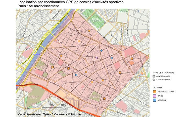 Geolocalisation de centres sportifs parisiens par coordonnées GPS