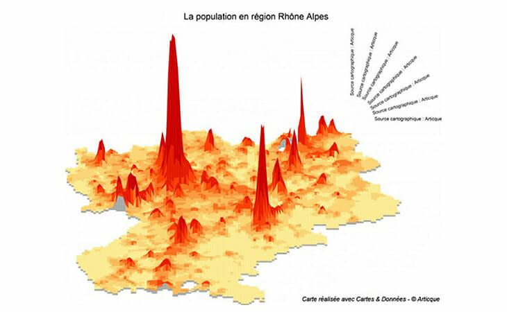 Cartographie de la population en Rhône Alpes avec Cartes et données