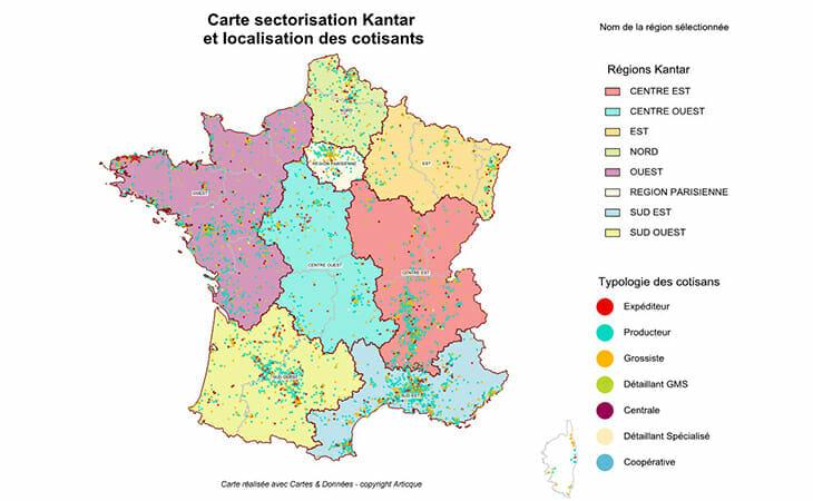 Cartographie de la sectorisation Kantar et de ses cotisants
