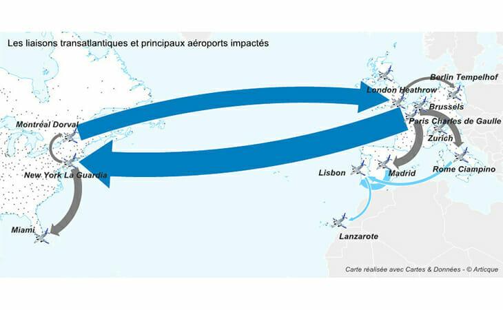 Carte des liaisons transatlantiques et des aéroports
