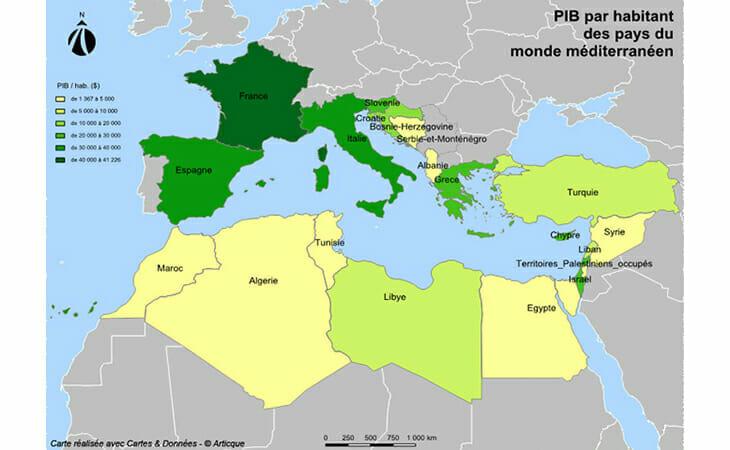 Cartographie statistique du PIB par habitant dans le bassin méditerranéen