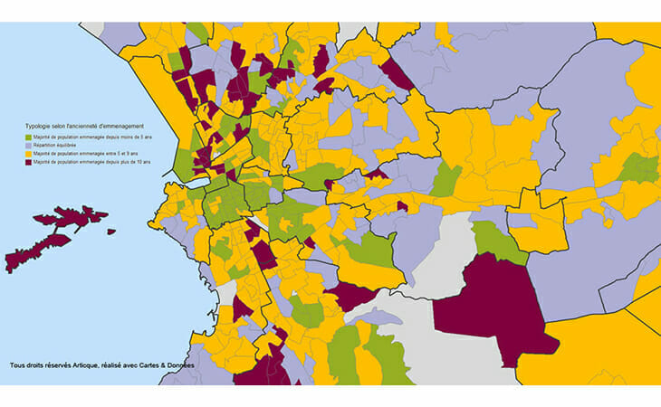 Cartographie de l'ancienneté d'emménagement à Marseille