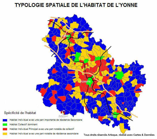 Typologie spatiale de l'habitat de l'Yonne par Cartes & Données