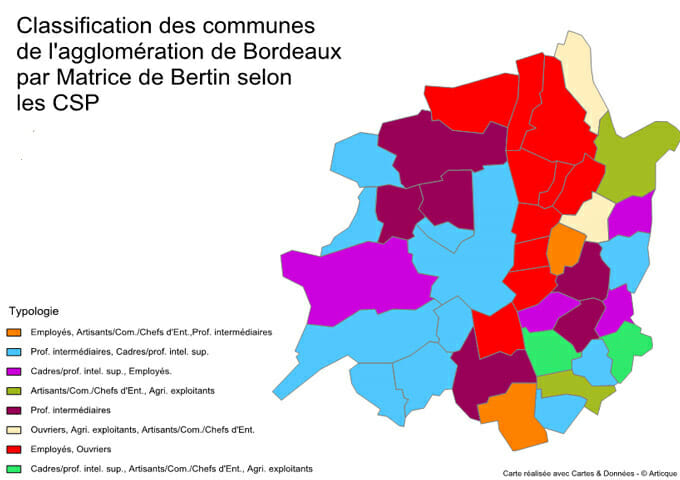 Classification de communes selon la matrice de Bertin