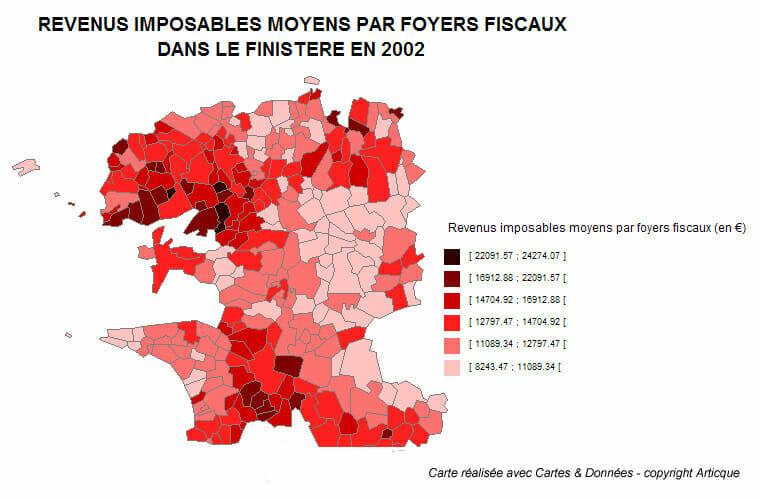 Les revenus imposables moyens dans le Finistère en 2002