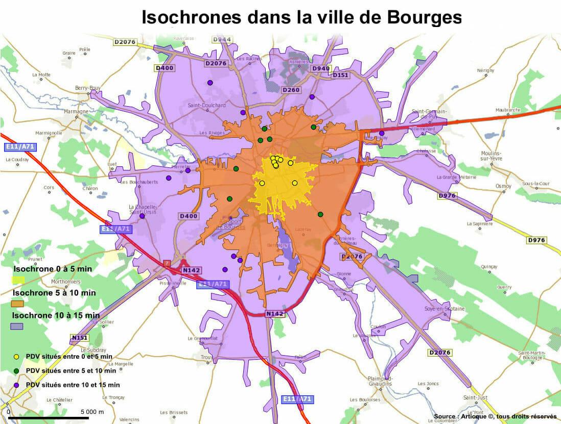 Distances routières et courbes isochrones à Bourges