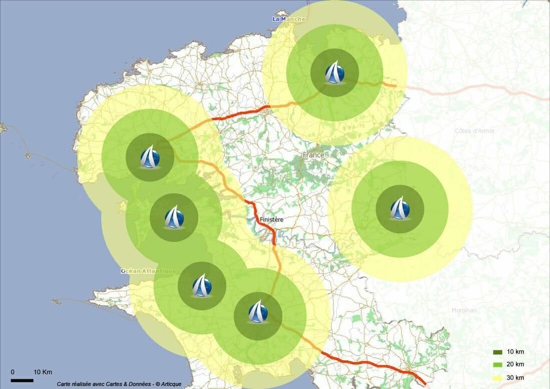 Module de Distance à vol d'oiseau dans Cartes & Données