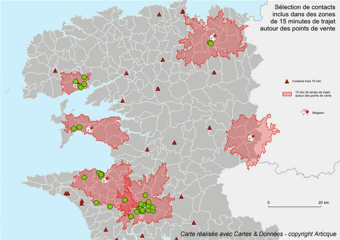 Inclusion de points selon une zone de trajet dans Cartes & Données