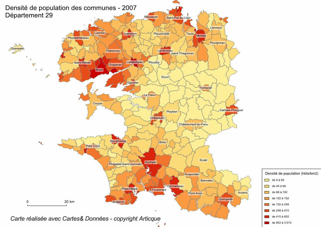 Cartogtraphie de la densité de population avec le module Surface