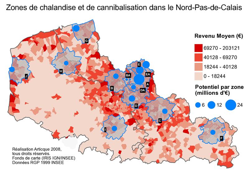 Geomarketing des zones de chalandise et de cannibalisation