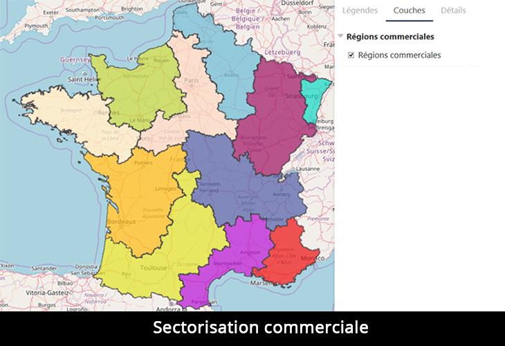Exemple de repartition de force de vente en France