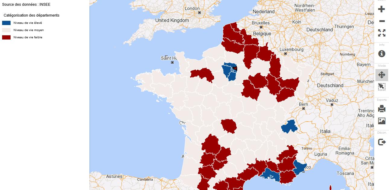 Analyse geographique des inegalites : categorisation des departements