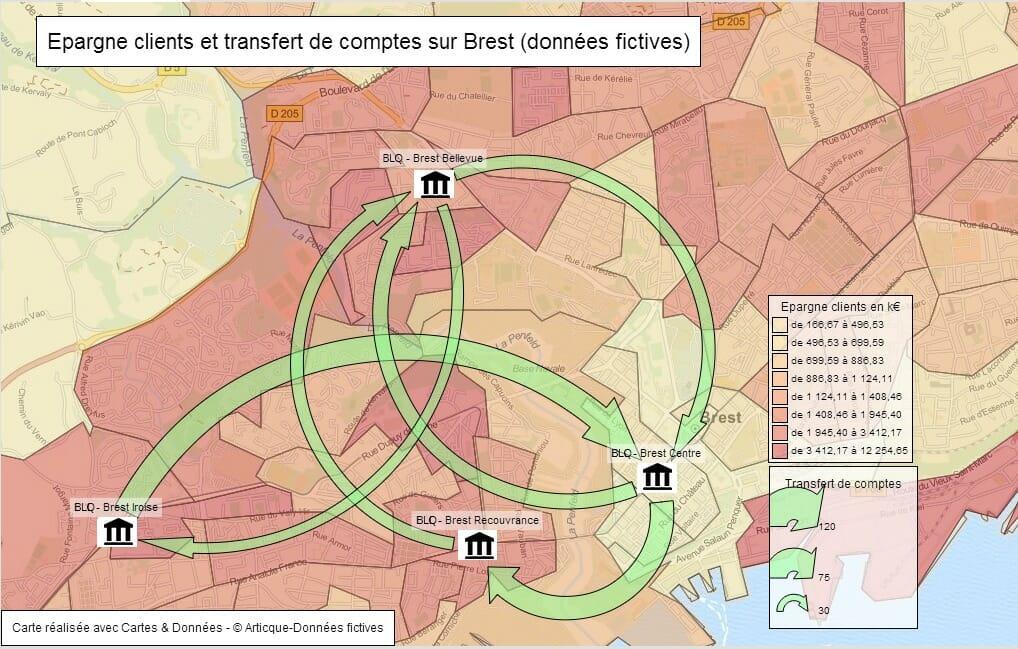 Cartographie d'une épargne clients et des transferts de comptes
