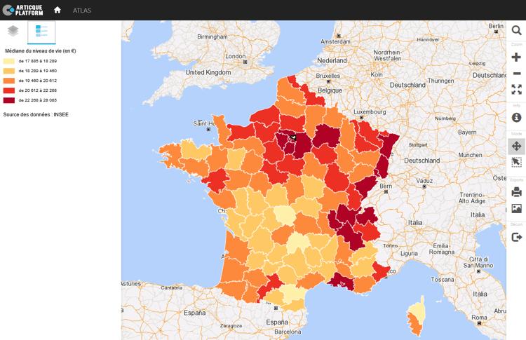 Analyse geographique des inegalites socio-demographiques en France