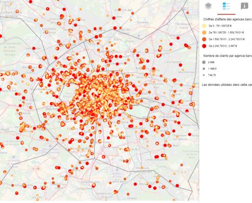 Cartographie statistique du chiffre d'affaires d'agences bancaires