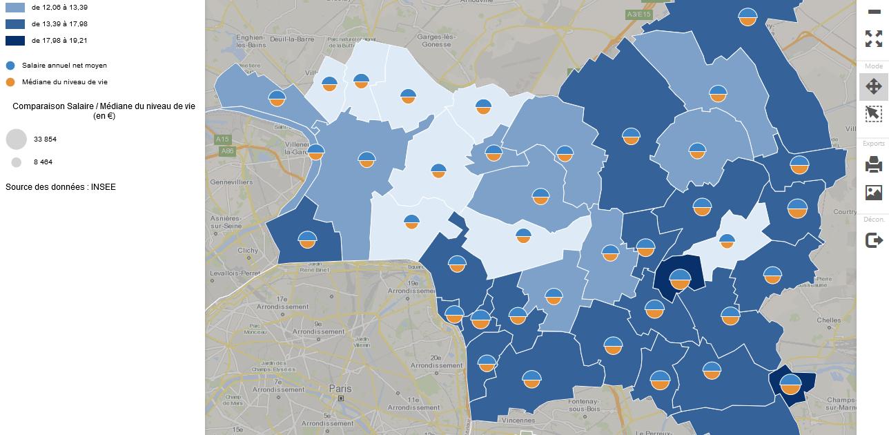 Observatoire des inegalites en Seine-Saint-Denis : salaire horaire net moyen