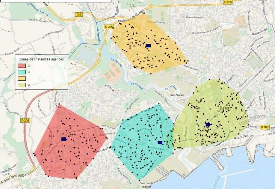 Cartographie de la zone de chalandise d'agences bancaires à Brest