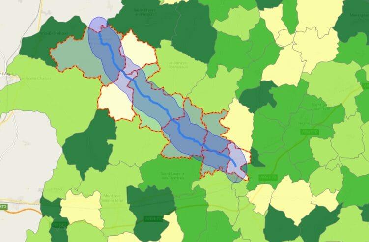 Exemple de zone tampon pour le département de la Dordogne