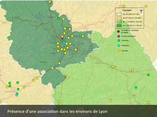 Cartographie d'activités associatives en région lyonnaise