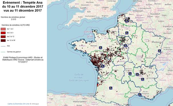carte dynamique des zones impactées par un événement climatique