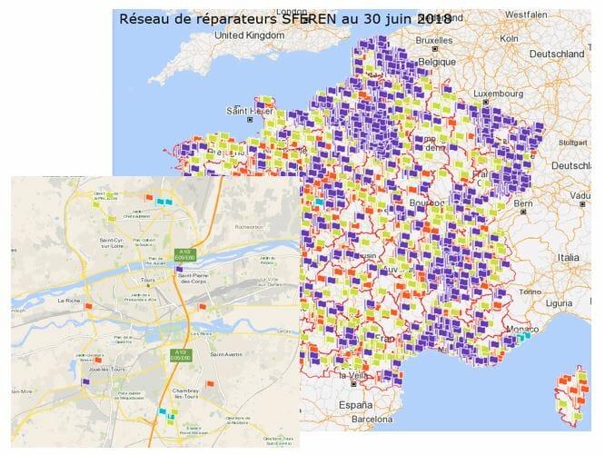 géolocalisation d'un réseau de garages