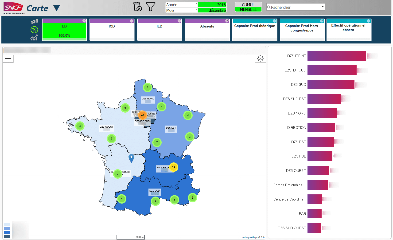 Sncf : Business Intelligence (BI) et Articque Map