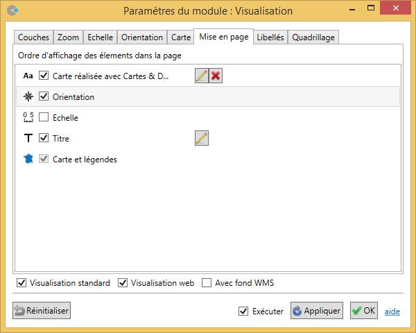 Paramètres du module Visualisation de Cartes & Données