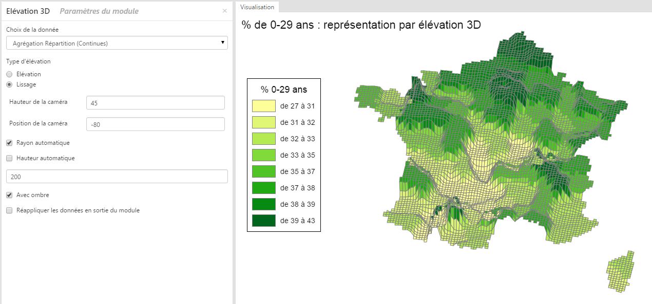 Utilisation du module Élévation 3D dans Cartes & Données