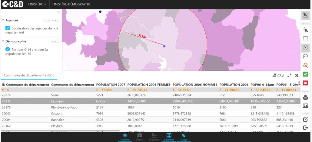 Sélection dynamique atlas web