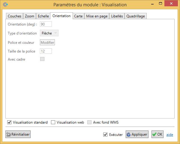 Paramétrage de l'orientation dans le module Visualisation