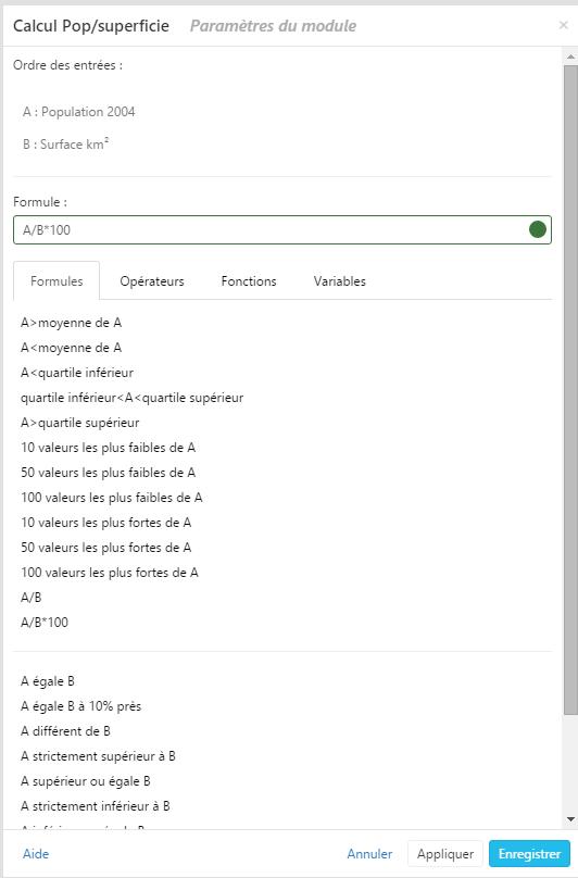 Illustration du module Calcul dans Cartes & Données
