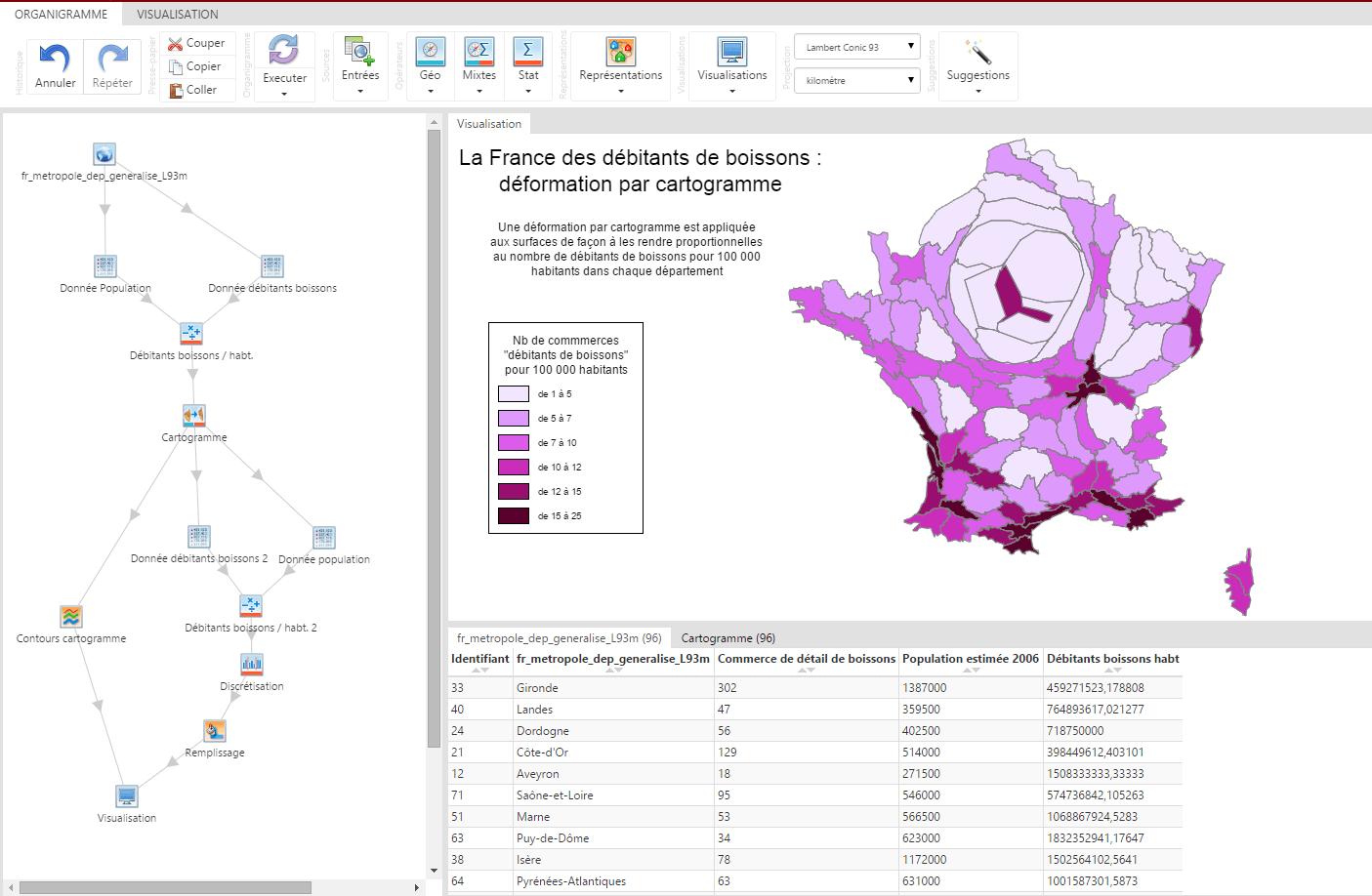 Cartogramme des débitants de boissons en France